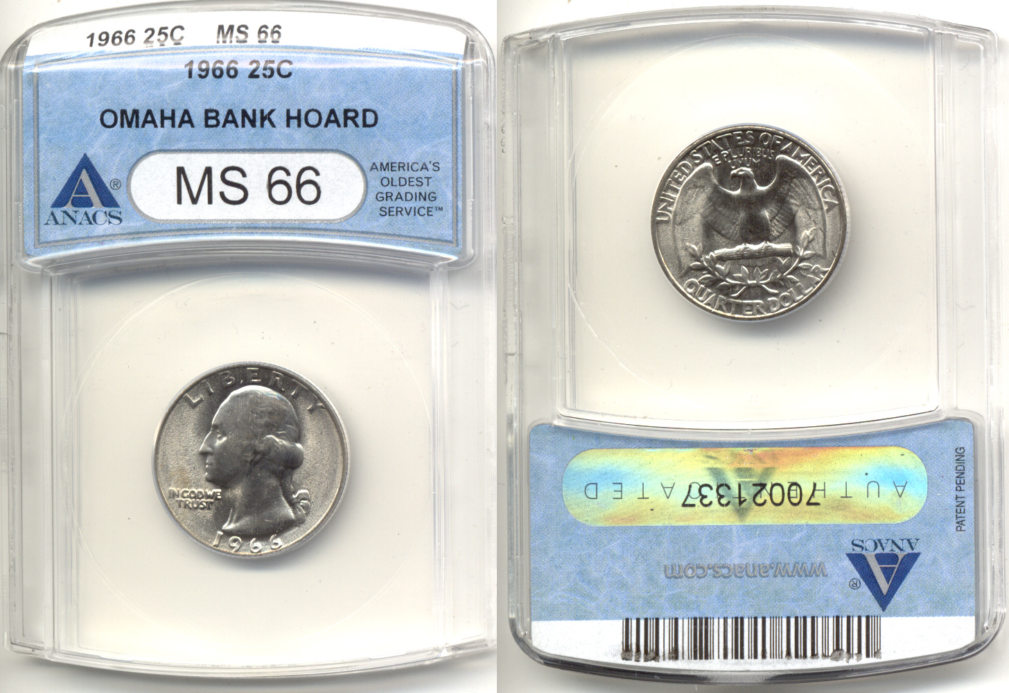 1966 Washington Quarter ANACS MS-66 a