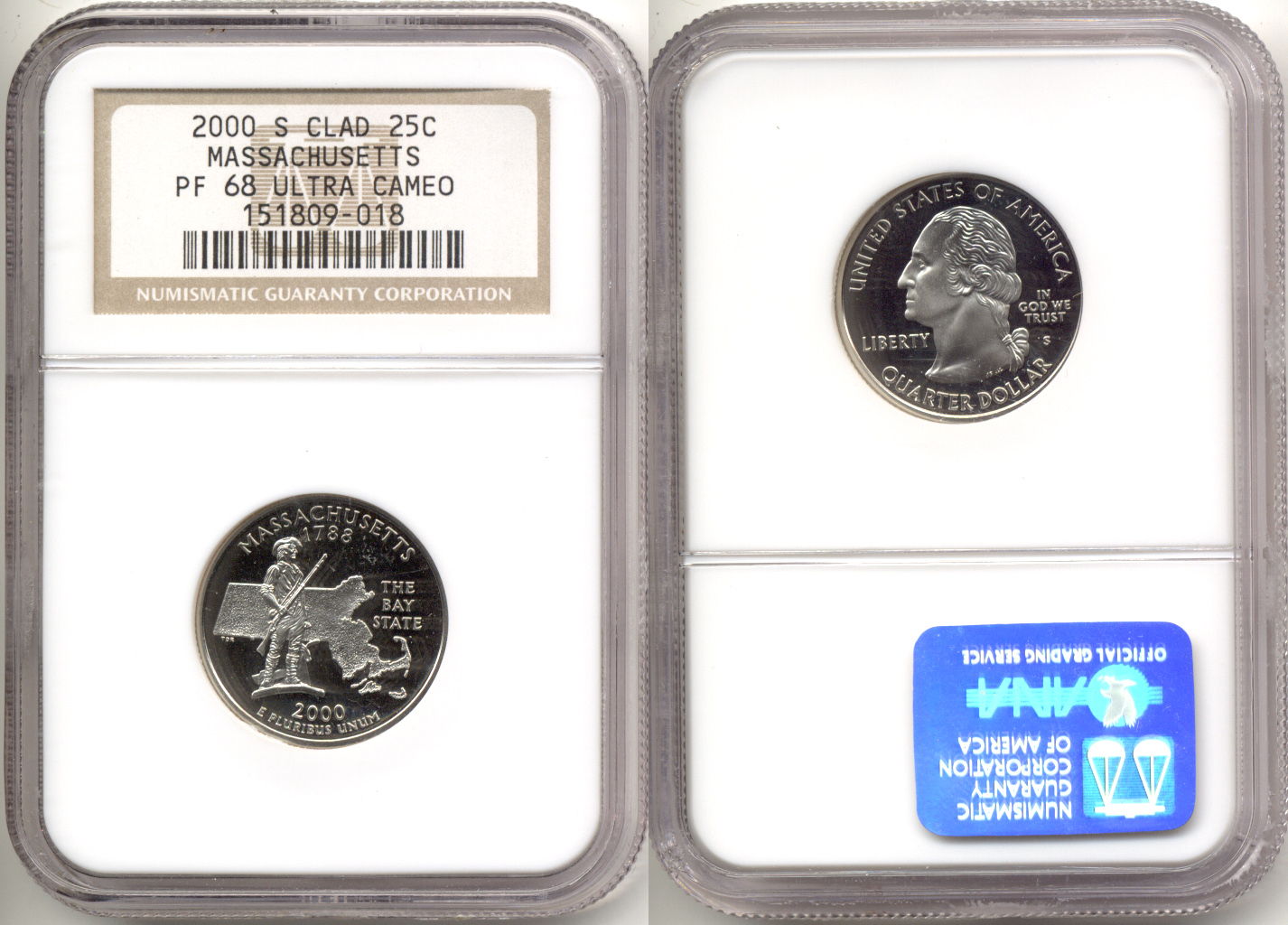2000-S Massachusetts Clad State Quarter NGC Proof-68 Ultra Cameo