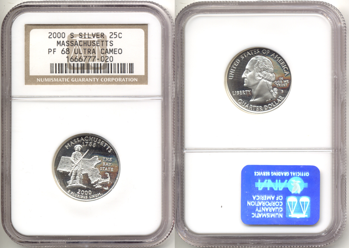 2000-S Massachusetts Silver State Quarter NGC Proof-68 Ultra Cameo