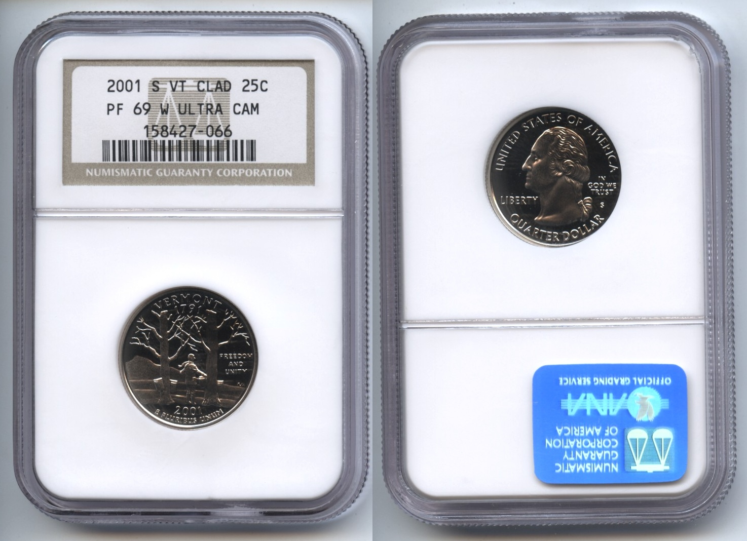 2001-S Vermont State Quarter NGC Ultra Cameo Proof-69