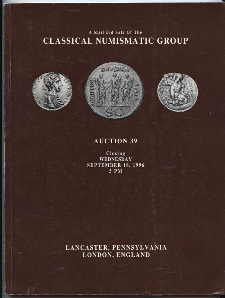 Classical Numismatic Group Mail Bid Sale Auction 39 September 1996