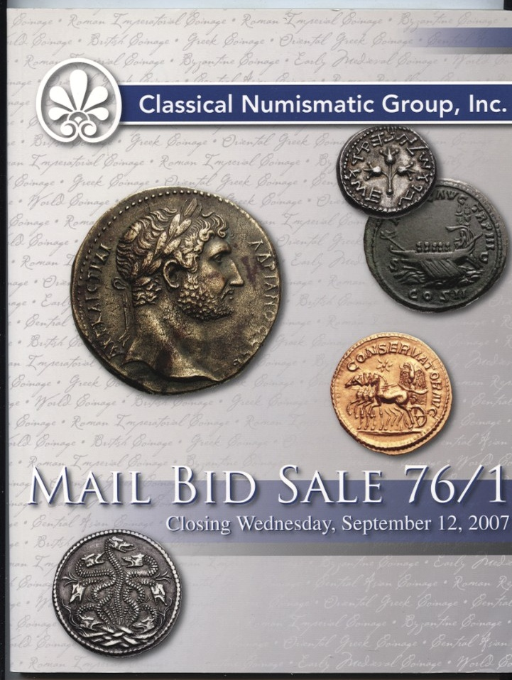 Classical Numismatic Group Mail Bid Sale Auction 76/1 September 2007