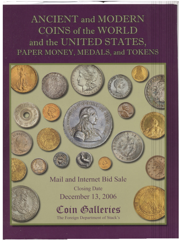 Stacks Coin Galleries Mail Bid Sale December 2006