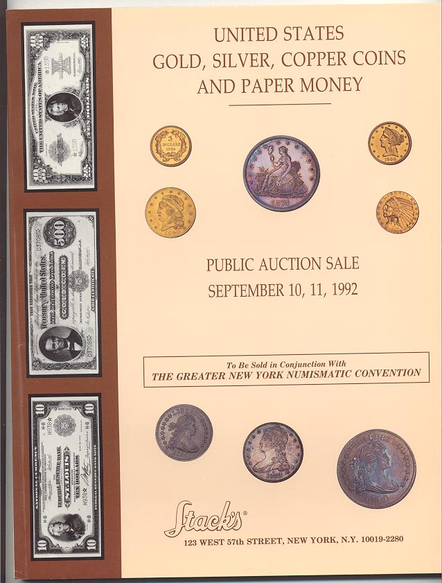 Stacks United States Gold Silver and Copper Coins Sale September 1992