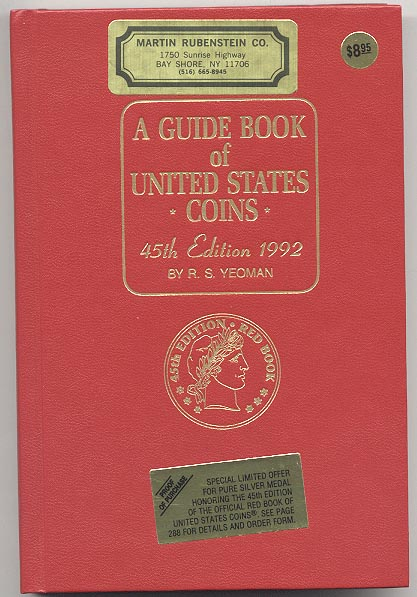 A Guide Book of United States Coins Redbook 1992 45th Edition by R S Yeoman