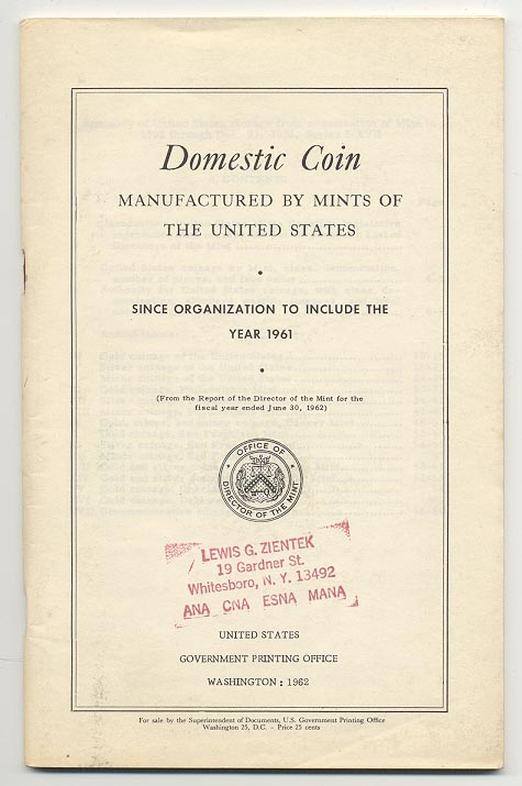 Domestic Coin Manufactured By Mints Of The United States 1961 Government Printing Office