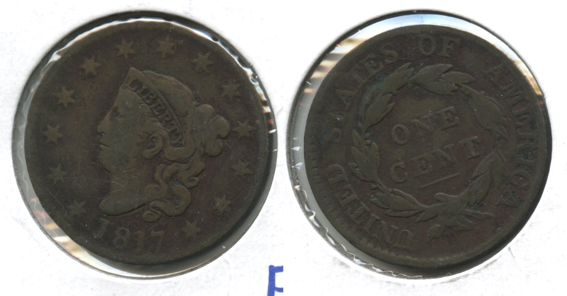 1817 Coronet Large Cent Fine-12 Slightly Dark