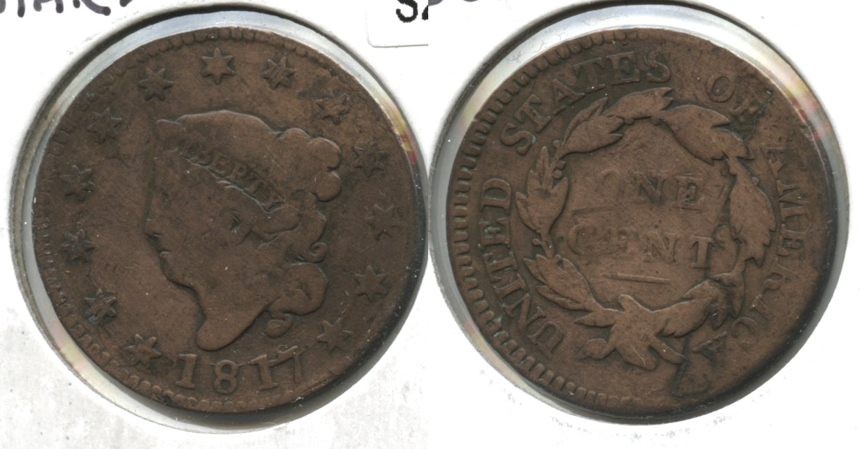 1817 Coronet Large Cent G-4 #d Cleaned