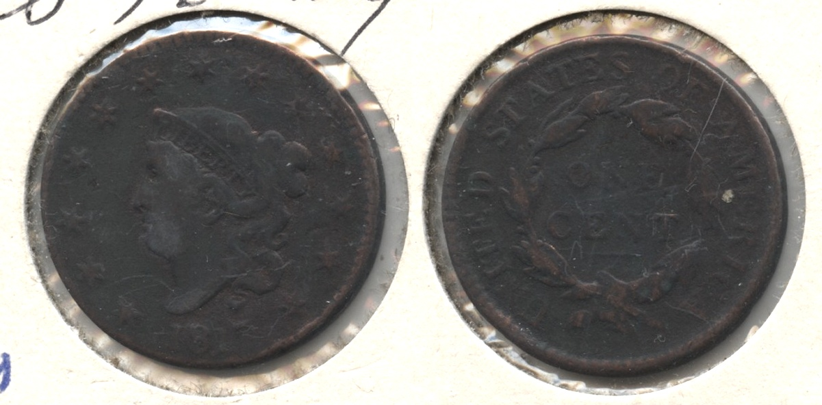 1817 Coronet Large Cent VG-8 #b Cleaned