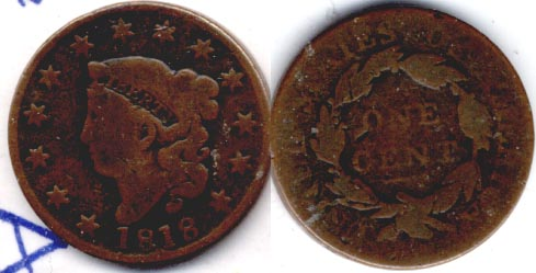 1818 Coronet Large Cent AG-3