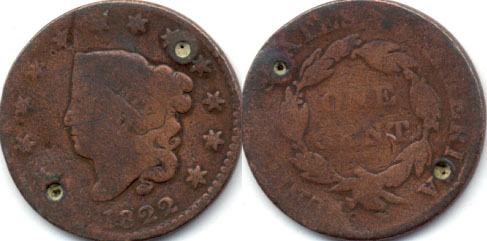 1822 Coronet Large Cent G-4 a