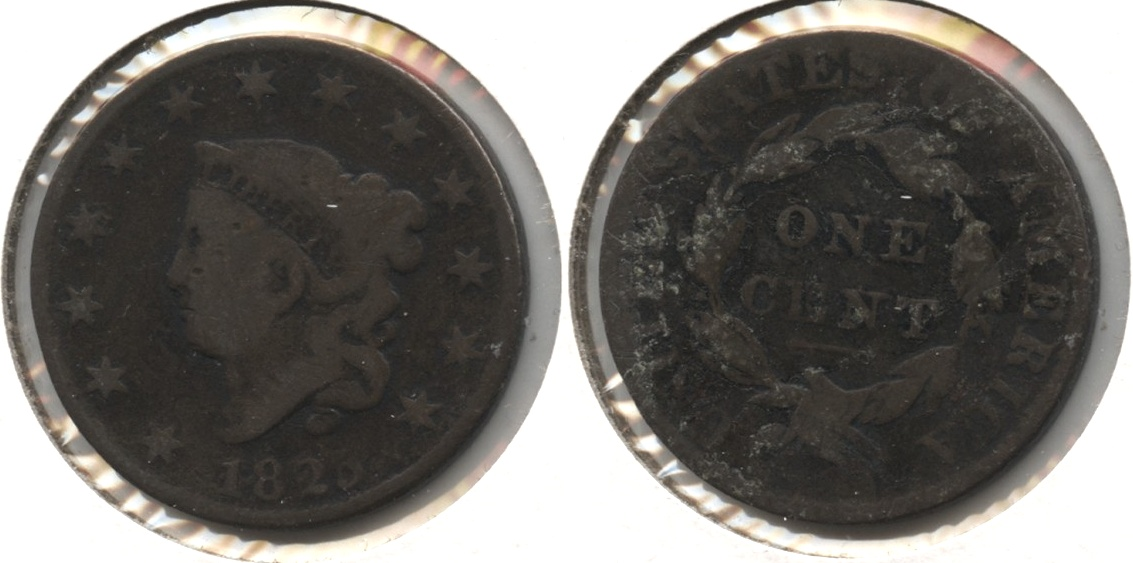 1825 Coronet Large Cent G-4 Reverse Tape #a