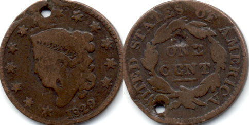 1829 Coronet Large Cent G-4 Holed