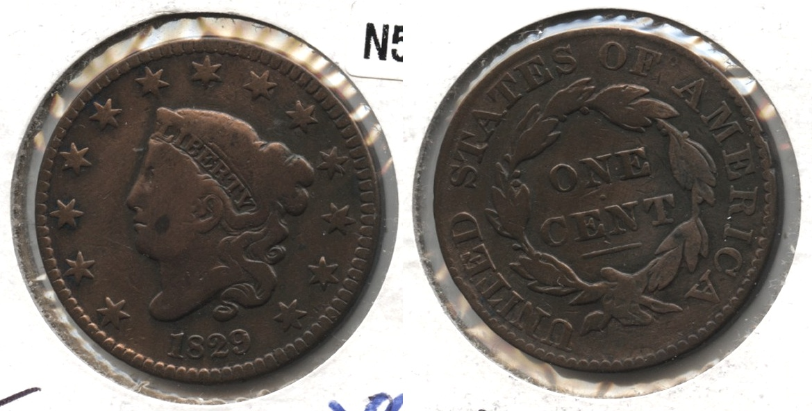 1829 Coronet Large Cent VG-8 #a Cleaned