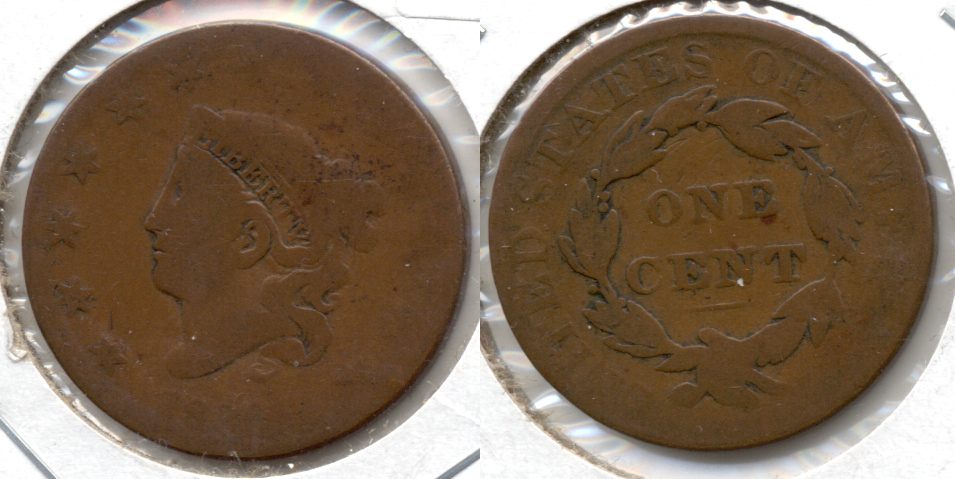 1830 Coronet Large Cent AG-3