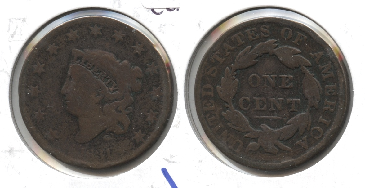 1831 Coronet Large Cent G-6 Cleaned Retoned