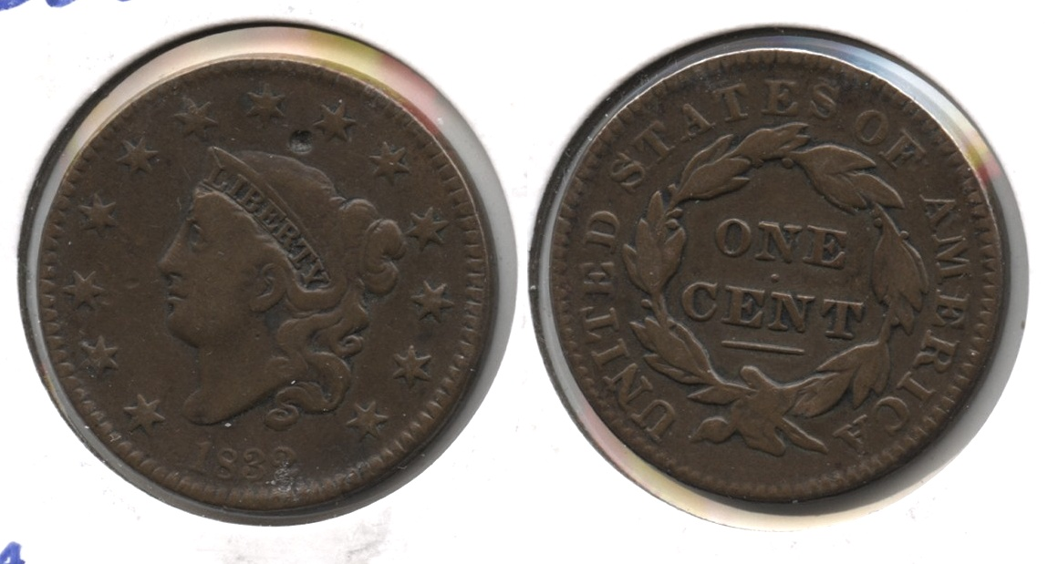 1832 Coronet Large Cent F-12 Obverse Hit