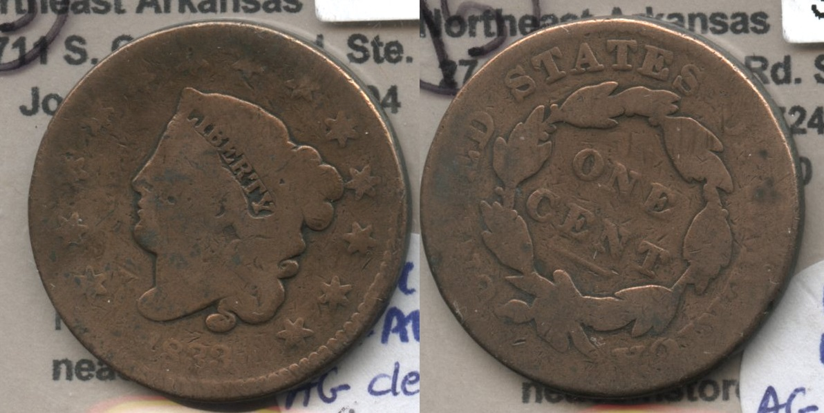 1833 Coronet Large Cent AG-3 #a Cleaned