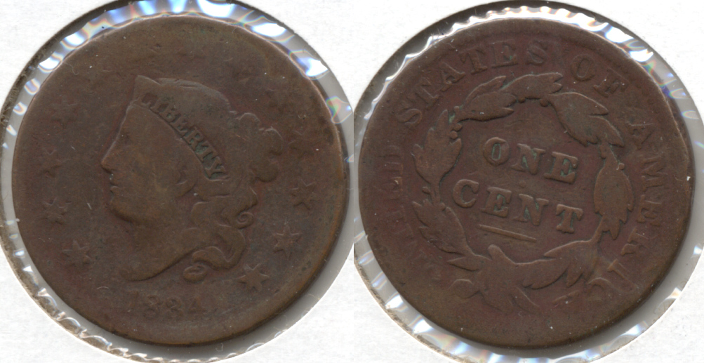 1834 Coronet Large Cent Good-4 Old Cleaning