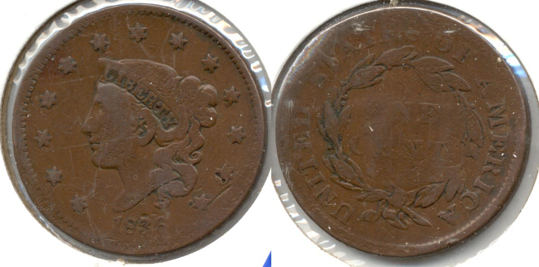 1836 Coronet Large Cent AG-3