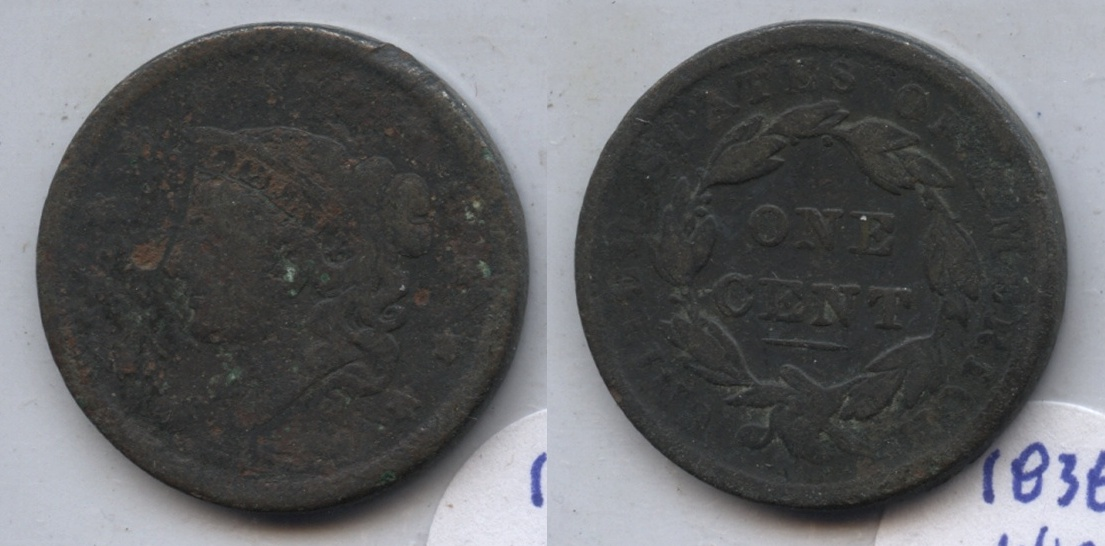 1838 Coronet Large Cent F-12 #s Dark