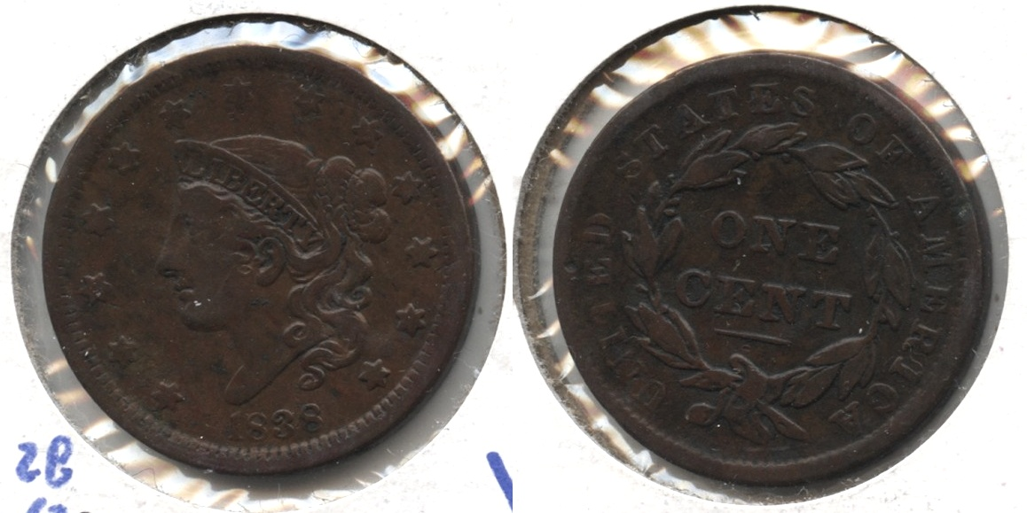 1838 Coronet Large Cent VF-20 #c