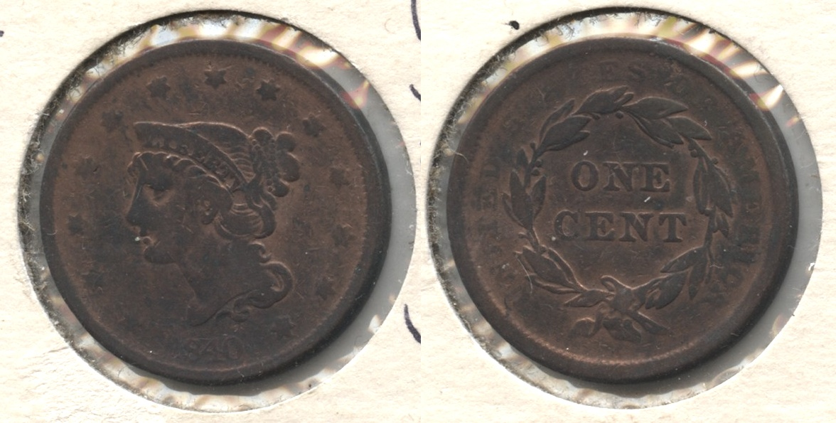 1840 Large Date Large Cent Fine-12 #b Cleaned