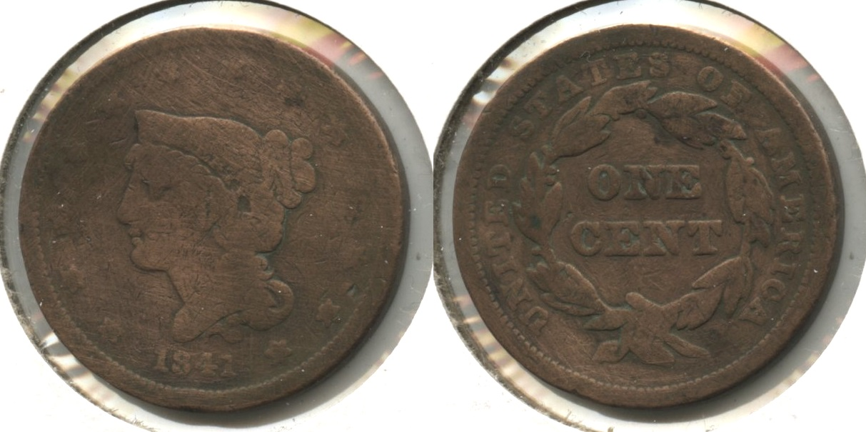 1841 Coronet Large Cent G-4 #a Cleaned