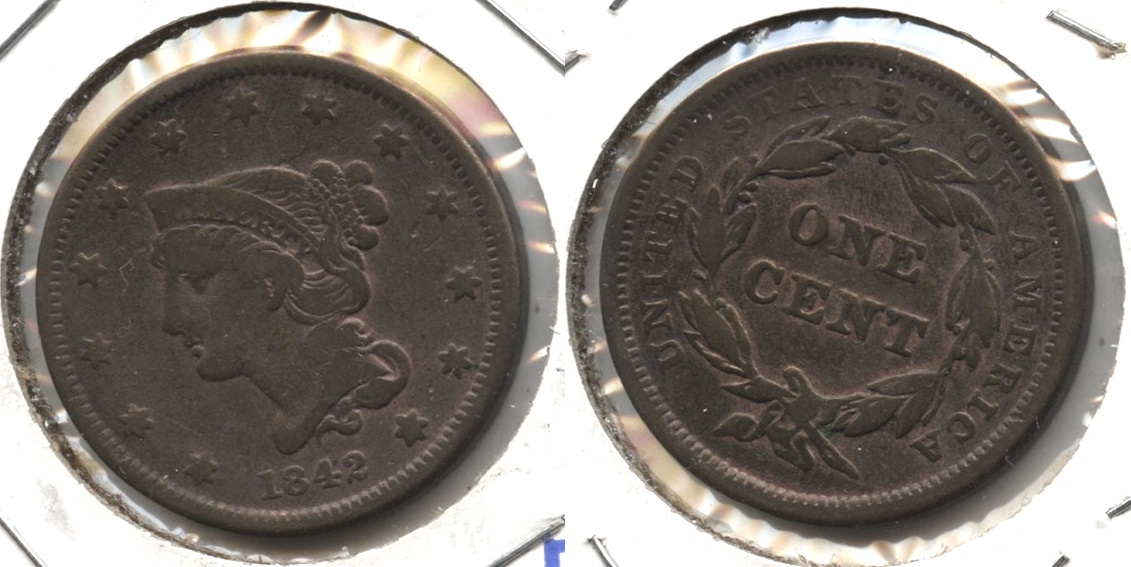 1842 Coronet Large Cent F-12 #a Old Cleaning