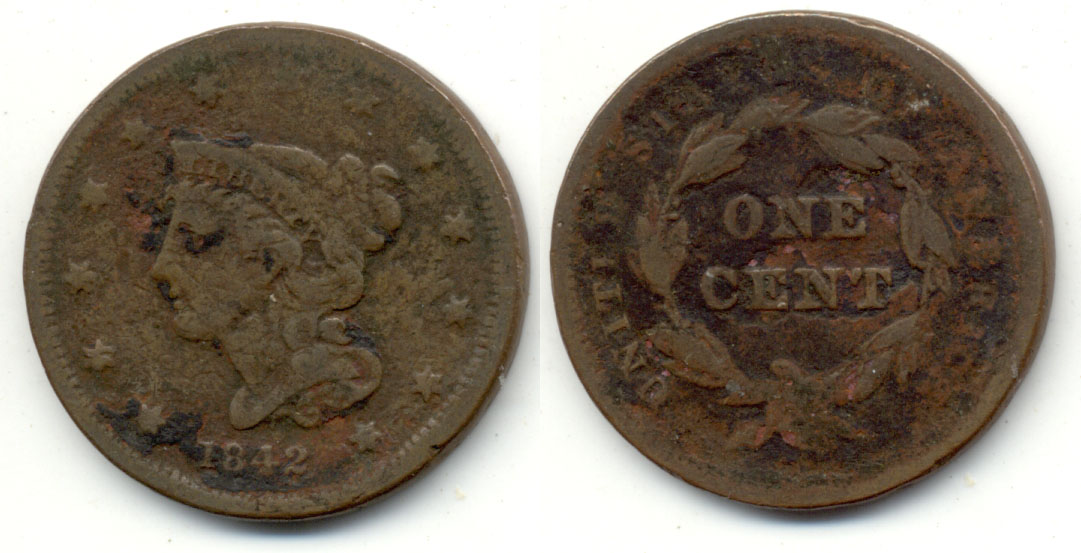 1842 Coronet Large Cent VG-8 Small Date Porous
