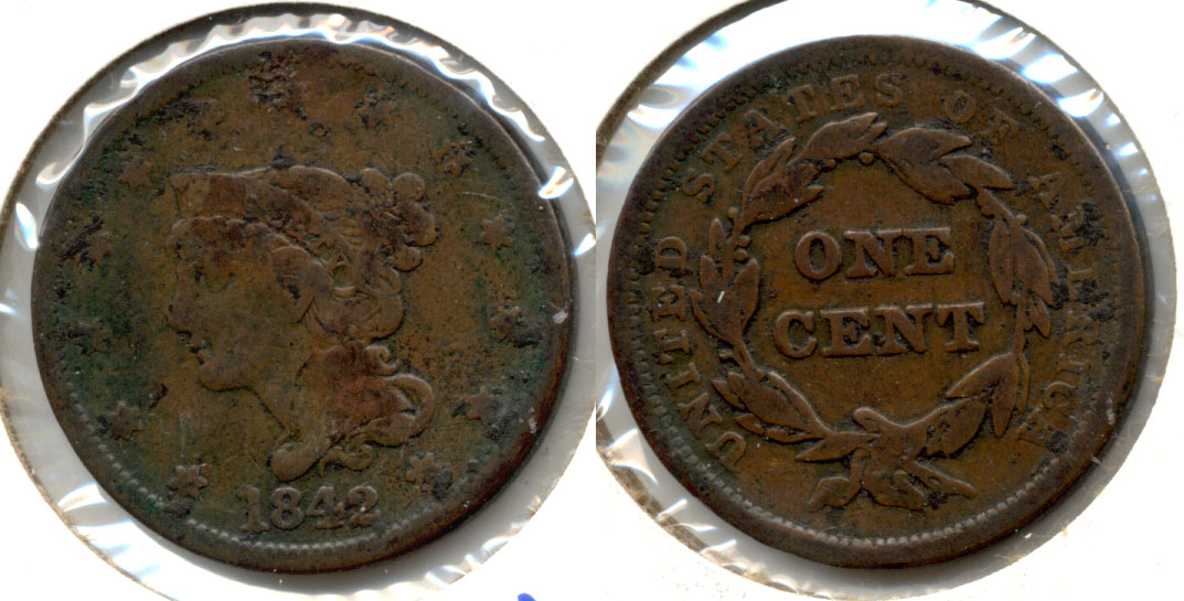 1842 Coronet Large Cent VG-8 Large Date Obverse Pitting