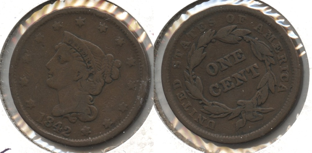 1842 Coronet Large Cent VG-8 #d Large Date