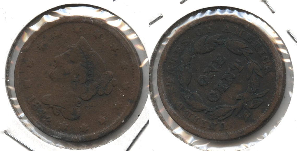1842 Coronet Large Cent VG-8 #f Large Date