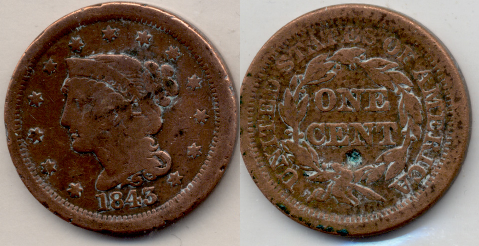 1843 Coronet Large Cent G-4 Cleaned
