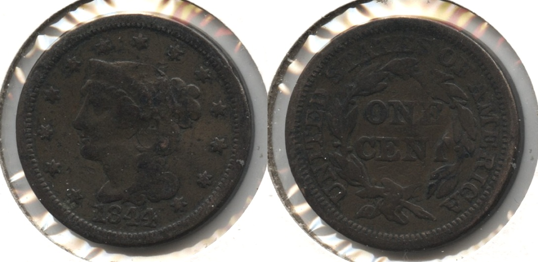 1844 Coronet Large Cent VG-8 #c Some Damage