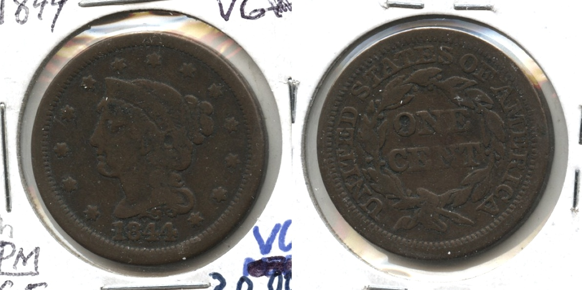 1844 Coronet Large Cent VG-8 #h