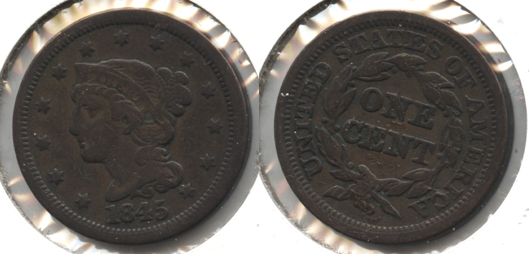 1845 Coronet Large Cent Fine-12 #a Obverse Marks