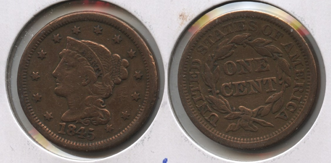 1845 Coronet Large Cent Fine-12 #i Cleaned
