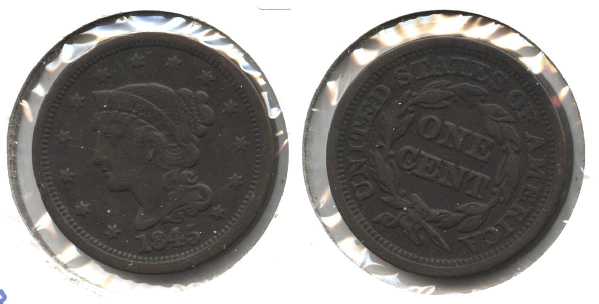 1845 Coronet Large Cent VF-20
