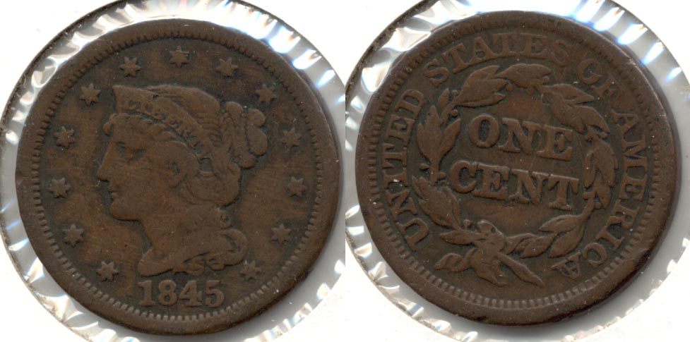 1845 Coronet Large Cent VG-10