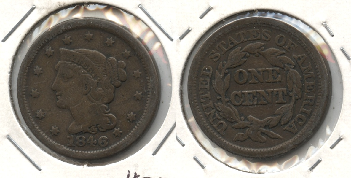 1846 Coronet Large Cent F-12 #h