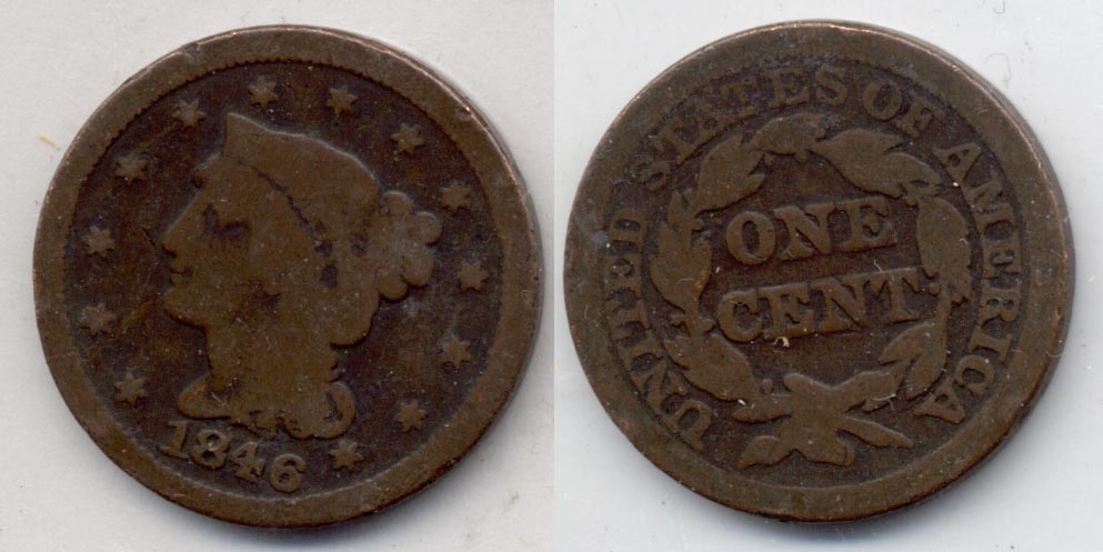 1846 Coronet Large Cent Good-4