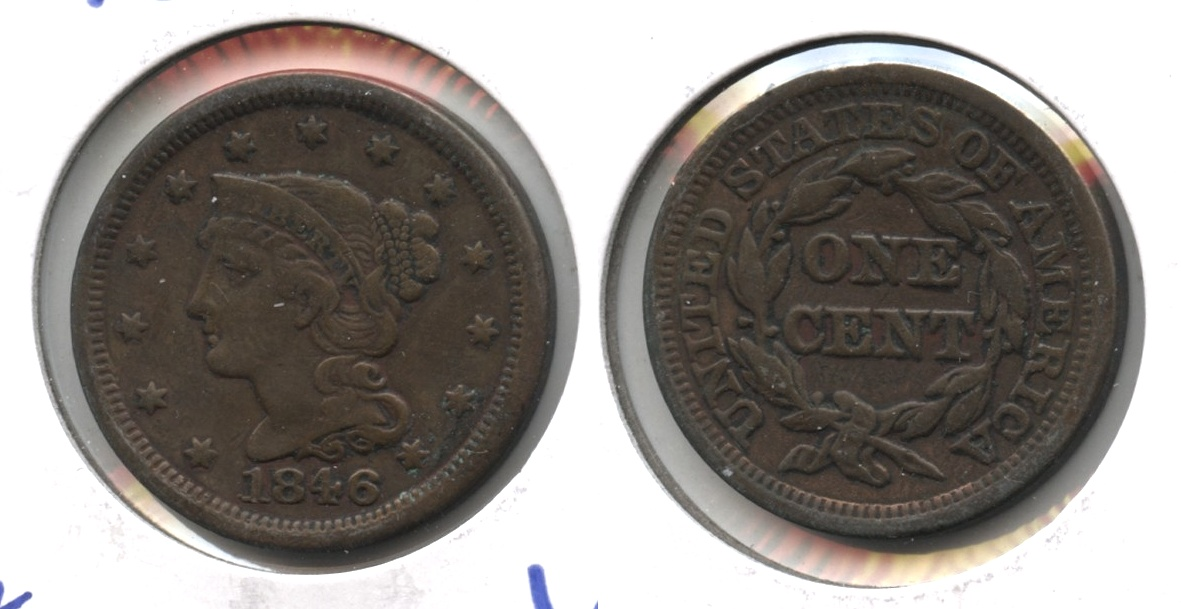 1846 Coronet Large Cent VF-20 #b Old Cleaning