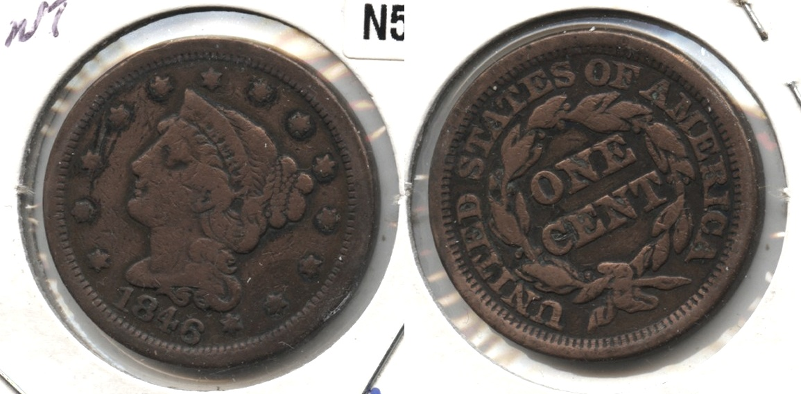 1846 Coronet Large Cent VG-8 #f Cleaned