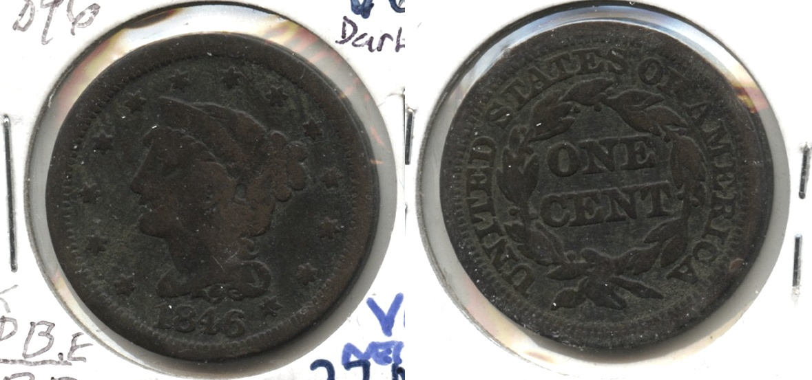 1846 Coronet Large Cent VG-8 #k Dark