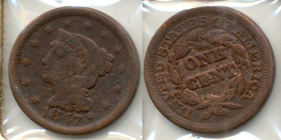 1847 Coronet Large Cent Fine-12 a Cleaned