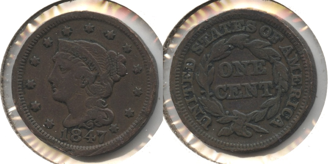 1847 Coronet Large Cent Fine-12 #j Rim Damage
