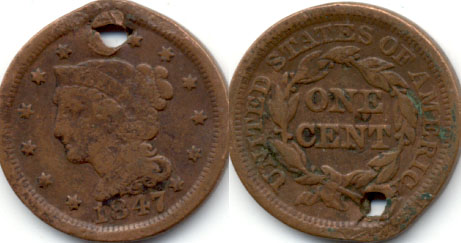 1847 Coronet Large Cent G-4 c Holed