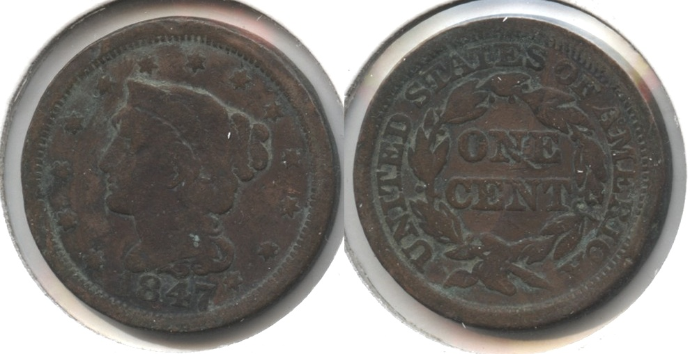 1847 Coronet Large Cent Good-4 #g Cleaned