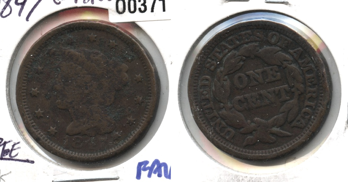 1847 Coronet Large Cent Good-4 #k Porous